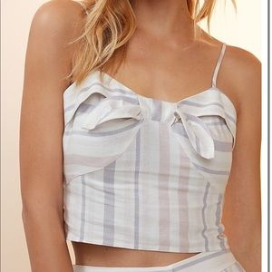 Express Striped Tie Front Cropped Cami Size Large